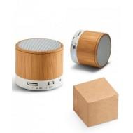 Caixa de som com microfone. Bambu. Com transmissão por bluetooth