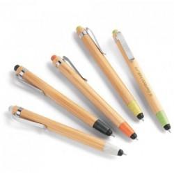 Esferográfica. Bambu. Clipe de metal. 1,5 km de escrita. Elementos em fibra de trigo e ABS