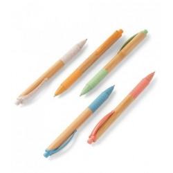 Esferográfica. Bambu. 1,5 km de escrita. Elementos em fibra de trigo e ABS