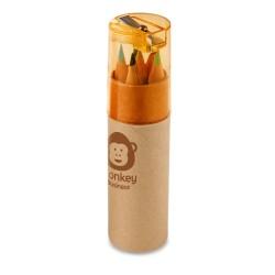 Caixa cilíndrica em cartão com 6 mini lápis de cor