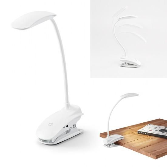 Luminária de mesa. ABS. LED COB. Com mola, braço flexível e botão tátil com 3 modos de luz (fraco, médio e forte)