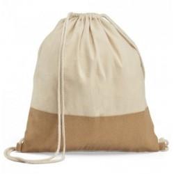 Sacola tipo mochila 100 por canto algodao com detalhe em juta