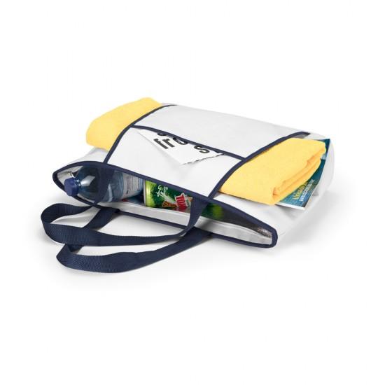 Sacola termica 600D Fecha com ziper Compartimento exterior aberto forrado com bolso frontal. Alcas em webbing Capacidade ate 9 litros