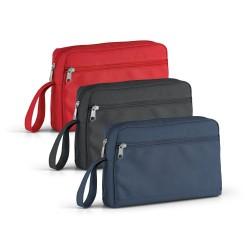 Bolsa de cosméticos com pega e bolso frontal em 300D
