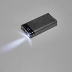 Bateria portatil preta em ABS e com LED 16000mah