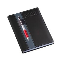 Agenda diária 2022 de couro sintético com suporte para caneta