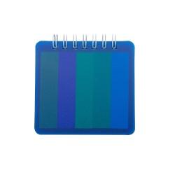 Bloco de anotações plástico com autoadesivos. Bloco com wire-o branco