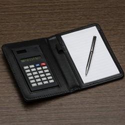 Bloco de Anotacoes de couro sintetico com Calculadora e Caneta