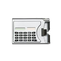 Calculadora plástica de 8 dígitos com porta cartão lateral.