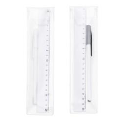 Kit régua e caneta plástica em estojo plástico transparente