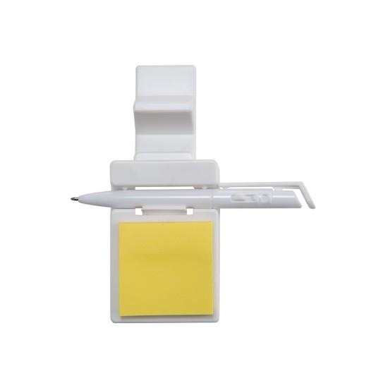 Suporte plástico para celular com caneta plástica e bloquinho de rascunho