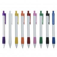 Caneta plástica branca com detalhes coloridos com clip e acionador coloridos