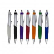 Caneta plástica prata com detalhes coloridos com clip metal e com anel colorido,