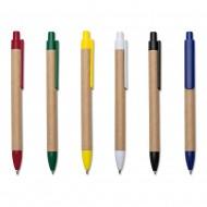 Caneta ecologica de papelao com detalhes coloridos, clipe personalizavel
