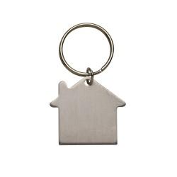 Chaveiro plaquinha metálica em formato casa com pintura fosca, frente e verso liso