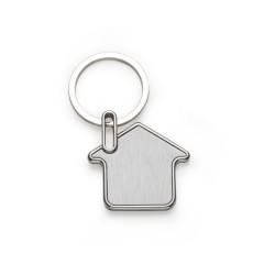 Chaveiro metal formato casa com chapa inox frente e verso lisa