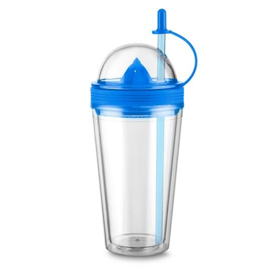 Copo plástico 500ml com espremedor de frutas