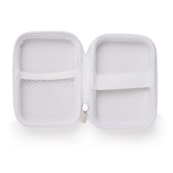 Estojo couro sintético com zíper, possui rede interna e elástico de nylon, para kits