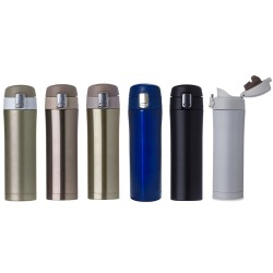 Garrafa Termica Metal 450ml com botão de abertura prata