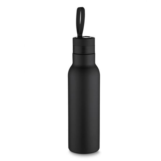 Garrafa termica inox 500ml com pintura preto fosco e alça colorida.