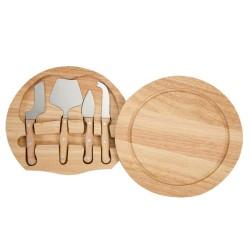 Kit queijo 5 peças, possui tábua de madeira com detalhe circular