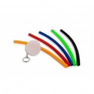 Chaveiro com canudo flexível de silicone em estojo plástico