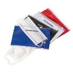 Pasta dupla para máscaras, produzida em PVC com fechamento ziplock