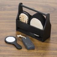 """Kit banho 4 peças ecológico em """"caixa/cesta"""" de madeira preta"""