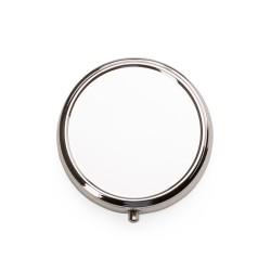 Porta comprimido redondo de metal, parte superior externa(tampa) espelhada