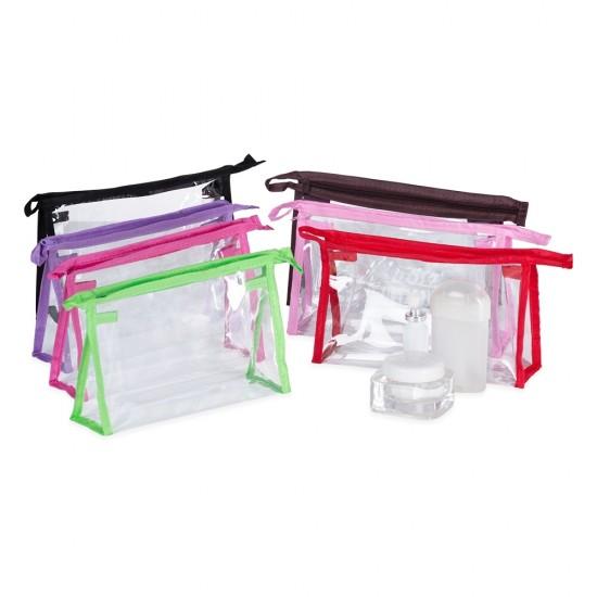 Necessaire plástica transparente com detalhe colorido em nylon