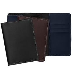 Porta passaporte Bidins em couro sintético, possui três compartimentos na lateral para cartões