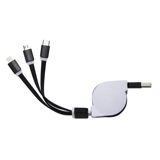Cabo USB Retratil 3 em 1